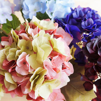 Sky Blue/ Lavender/ Peach and Green/ Wine Red/ Indigo/ Apple Green Hydrangea – artificial flower – headpiece – boquet (FB09-1/2/3/4/5/6)