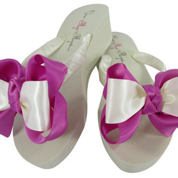 Garden Rose Classic Wedding Bow Flip Flops- Bridesmaid Flip Flops/ Bridal Flip Flop Sandals, Ivory or White Wedges or Flat Heel, Platform
