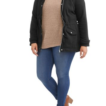 Women's Plus Size Sherpa Lined Fleece Jacket With Zip And Snap Closure And HoodWomen's Plus Size Sherpa Lined Fleece Jacket With Zip And Snap Closure And Hood