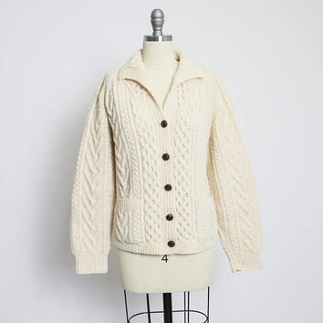 Vintage IRISH Wool Knit Beige Fisherman Cardigan Ladies Cropped Sweater 1960s - Small S