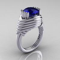 Modern Antique 14K White Gold 3.0 Carat Blue Sapphire Wedding Ring R211-14KWGBS