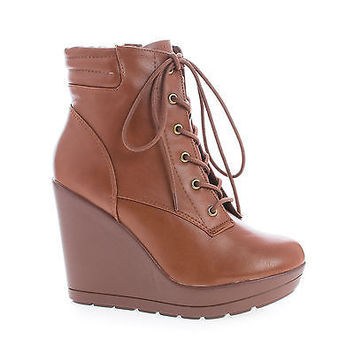 Claudia12 By Breckelle's, Round Toe Lace Up Platform High Wedge Heel Ankle Booties
