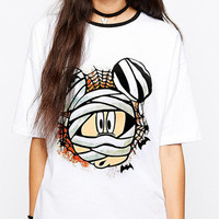 White Mickey Mummy Print Shirt