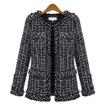 Hot 2015 autumn and winter Slim thin Check checkered Tweed coat push Large size Casual O-Neck women Plaid Jacket Outerwear