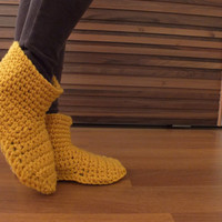 Mother Gift Women Crochet Slippers Wool Slippers Womens Slippers Adult Slippers Knitted Slippers Slipper Socks Knitted Socks Mustard Slipper