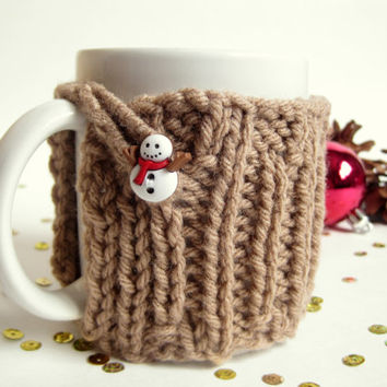 Knit Christmas Coffee Mug Cozy with Snowman Button– Christmas Gift Idea Under 20 – Stocking Stuffers for Women – Secret Santa Gift for Her