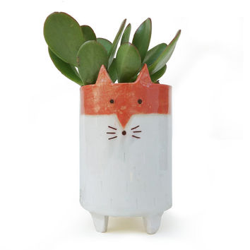 Fox Planter - Tripod Planter - White and Orange Succulent or Cacti Pot