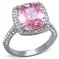 5 CT Pink Radiant CZ Halo Stainless Steel Engagement Ring
