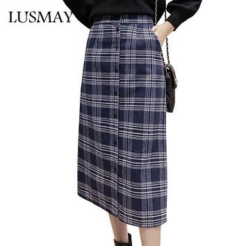 Plaid Midi Skirt Autumn 2017 New Fashion Vintage High Waist Long Skirt Single Buttons Straight Slim Casual Skirts For Women