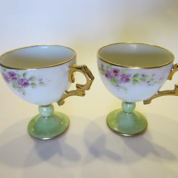 Demitasse Porcelain Stem Teacups Floral Gilt Inscribed BDW 1997