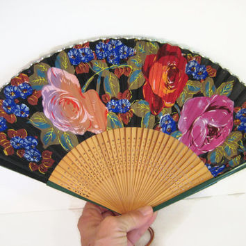 Vintage Folding Fan, Black Silk, Roses Decorated, Reticulated Wood Sticks