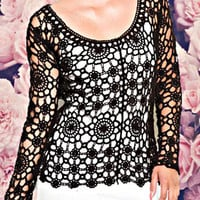 Black Lilly Crochet Top