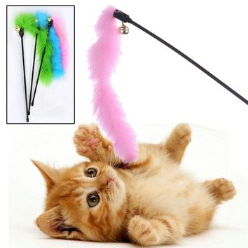 Cat Toy Turkey Feather Stick for Cat Jump Training Funny Cat Stickers Pet Kitten Plaything Randomly Color
