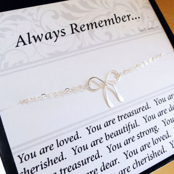 friendship bracelet with message card, silver bow bracelet, Bridesmaid gifts, gifts for best friends & sisters,Friendship card