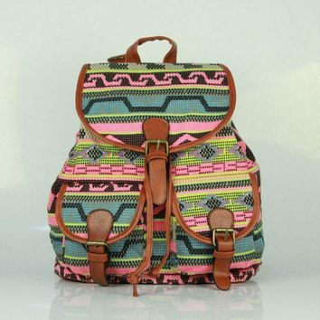 LMFON1O Day First Ethnic Printed Cute Large Backpacks for College School Bag Canvas Daypack Travel Bag