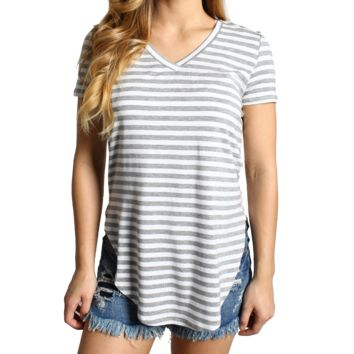 Heather Gray Stripe Piko V-Neck Curved Hem Top