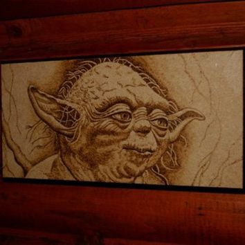 Yoda woodburned home decoration
