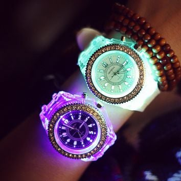 Luminous Rhinestone Light up Jelly Watch