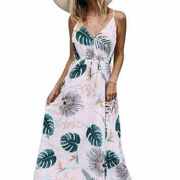 Foiled Flower Print Sexy V Neck Maxi Dress