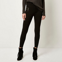 Black premium high waisted zip leggings - leggings - pants - women