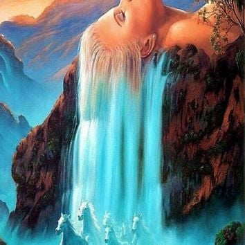 Wall art  White hair waterfall quadros landscape Pictures painting by numbers DIY Digital Oil Painting On Canvas banksy m255