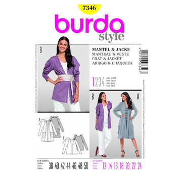 Burda Style 7346 Misses Coat & Jacket Sewing Pattern, Sizes 12-14-16-18-20-22-24, Misses Sewing Pattern, New, Uncut, Factory Folds