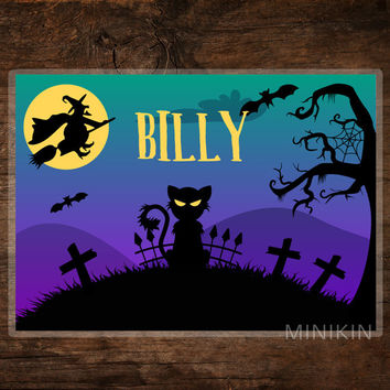 Large Kids Art Decor Personalised Placemat Halloween Party Supplies Spooky Scary Witch Cat Children Wipe Clean 297mm x 420mm A3 Printed