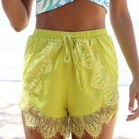 Bright Olive Green High Waisted Shorts with Lace Detail