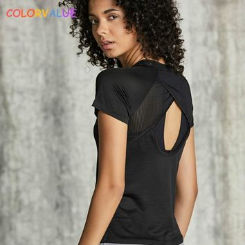 Colorvalue Back Open Solid Sport Running T-shirt Women Loose Fit O-neck Fitness Gym Tee Top Breathable Mesh Short-Sleeved Shirts