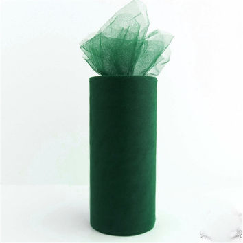 Tulle Spool Fabric Net Roll, 6-inch, 25-yard, Hunter Green