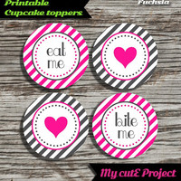 """Eat Me...Bite Me...Heart - Cupcake toppers - Fuchsia & Grey - Instant Download - Party printable - Party favor - Candy Bar - 5 cm / 2"""""""