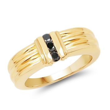 0.24 Carat Genuine Black Diamond 14kt gold-plated .925 Sterling Silver Ring