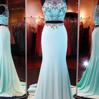 Prom Dresses Light Sky Blue Long Two Pieces Cap Sleeves Beaded Prom Dresses