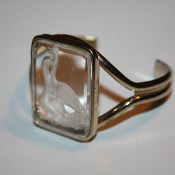 Vintage Cuff Bracelet, Intaglio Swan Bracelet, Reversed Carved Glass, 1960s Jewelry