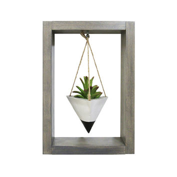 Wall Planter, Mini Planter, Succulent Planter, Air Planter, Concrete Planter, White Planter, Modern Planter, Air Plant Holder, Shadow Box