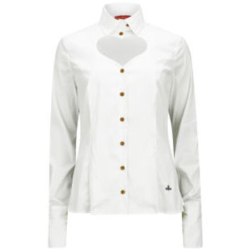 VIVIENNE WESTWOOD RED LABEL WOMEN'S CLASSIC STRETCH POPLIN HEART CUT OUT SHIRT - WHITE