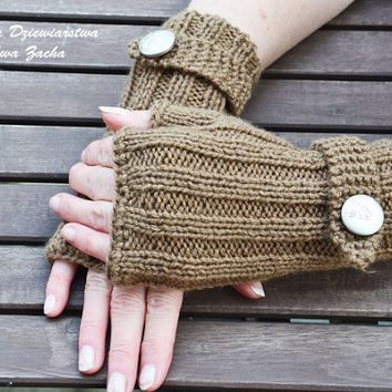 Light Brown Fingerless Mittens , fingerless gloves in handmade , warmers gloves , spring gloves with botton