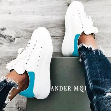 Alexander McQueen Fashionable  New Velvet Tail Sports Sneakers Running Shoes Sky Blue