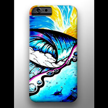Sunrise Surf Waves Shark Painting iPhone 4 4s 5 5s 5c 6 Case, Samsung Galaxy Hard Plastic Cover, Nature Art, Ocean Art, Wave Phone Case