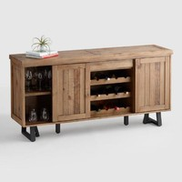 Reclaimed Pine Wood Alain Cabinet with Wine Storage