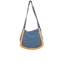 Vintage Denim Purse . Jean and Straw Bag . Minimalist . Grunge