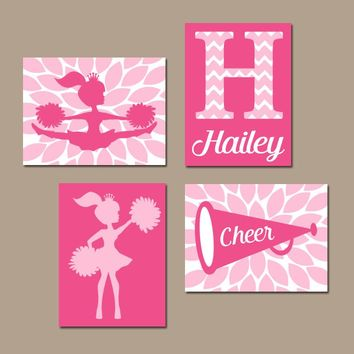 CHEERLEADER Wall Art, CANVAS or Prints, Pink Girl Bedroom Wall Decor, CHEER Sign, Megaphone, Personalized Girl Name, Nursery Decor, Set of 4