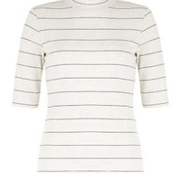 Stone Stripe Funnel Neck 1/2 Sleeve Top