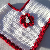 Girl's Crochet Red and White Poncho with Snowman Button, Christmas Baby Poncho, Sizes 12 to 18 Months, Photo Prop Crocheted by Charlene