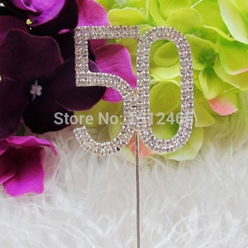 Free shipping,New style Silver Rhinestone Crystal Diamante Number 50 Cake Topper Birthday Party Anniversary 4.5*5cm  DG04
