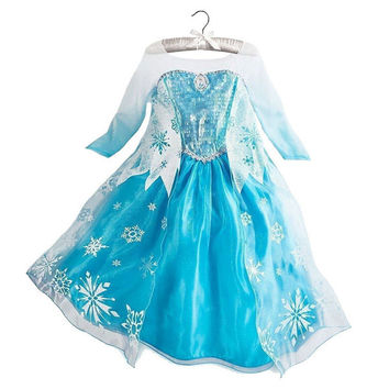 2015 Hot Baby girls Anna and Elsa coronation party princess dresses for Christmas,Autumn Winter Kids clothing
