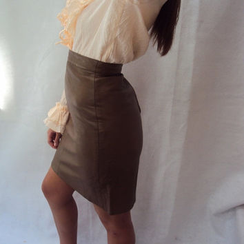 Vtg 80s 90s Leather Pencil Skirt HIgh Waist Brown Leather S, Small Grunge Basic Simple Minimalist Skirt
