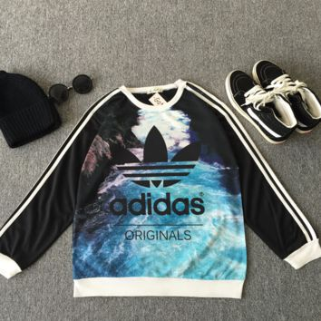 Adidas Woman Fashion Edgy Stripe Scoop Neck Sport Top Sweater Sweatshirt