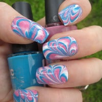 Bubble Gum Pink Blue & White Marbled Nail Art Set by emineegoods