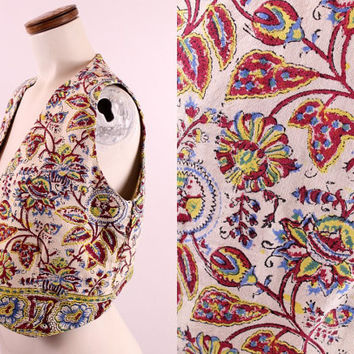 Vintage 70s - Ethnic Indian - Ivory Bugundy Red & Yellow Floral Print - Cotton Linen Cropped Vest - Unisex - Hippie Boho